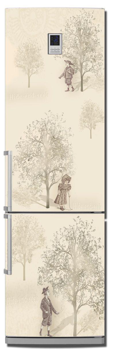 Виниловая наклейка на холодильник -  Прятки
