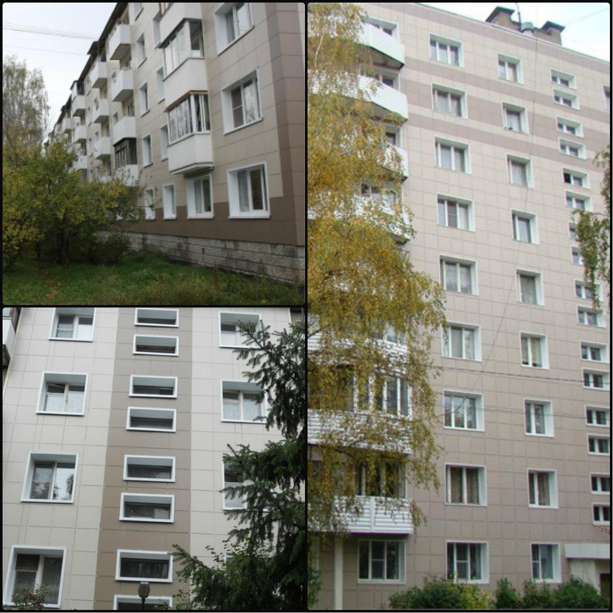 Облицовка фасада жилых домов керамогранитом г. Клин