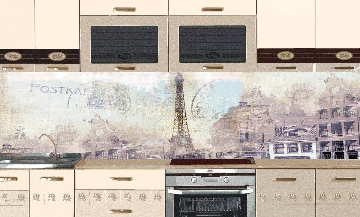 Kitchen Backsplash - Retro postcard