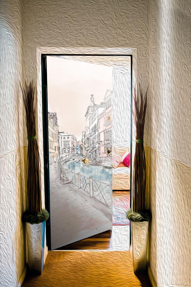 Наклейка на дверь - Весенние зарисовки