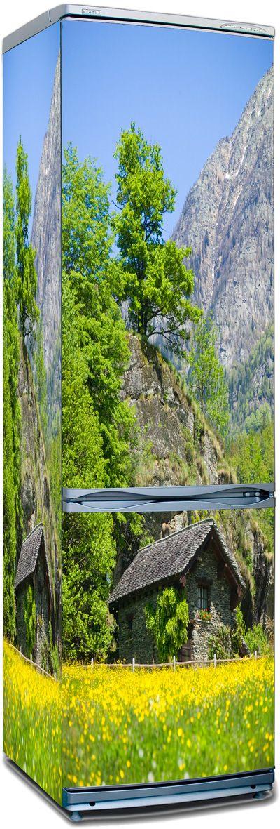 Наклейка на холодильник - Дом в горах.