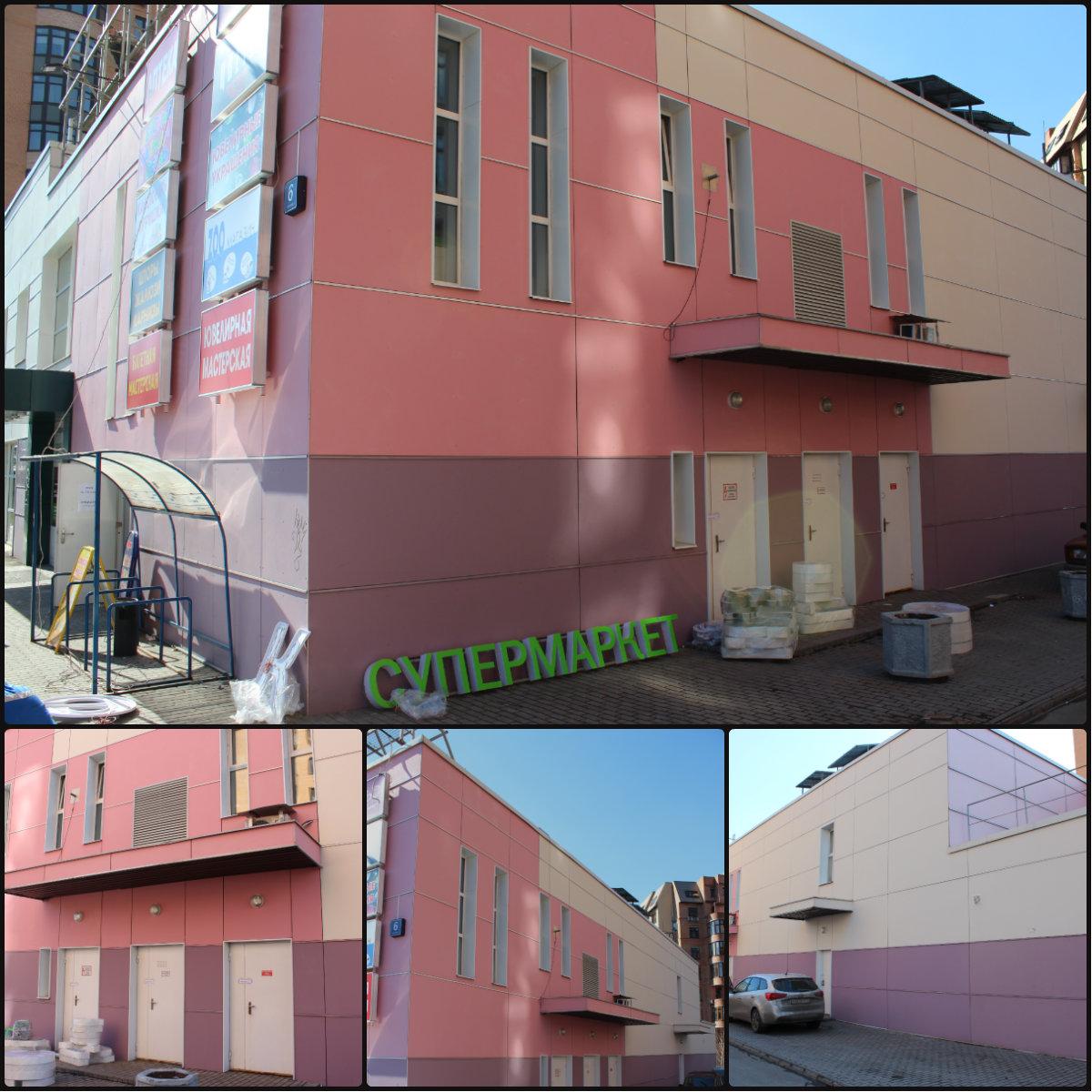Отделка магазина фасадными фиброцементными панелями