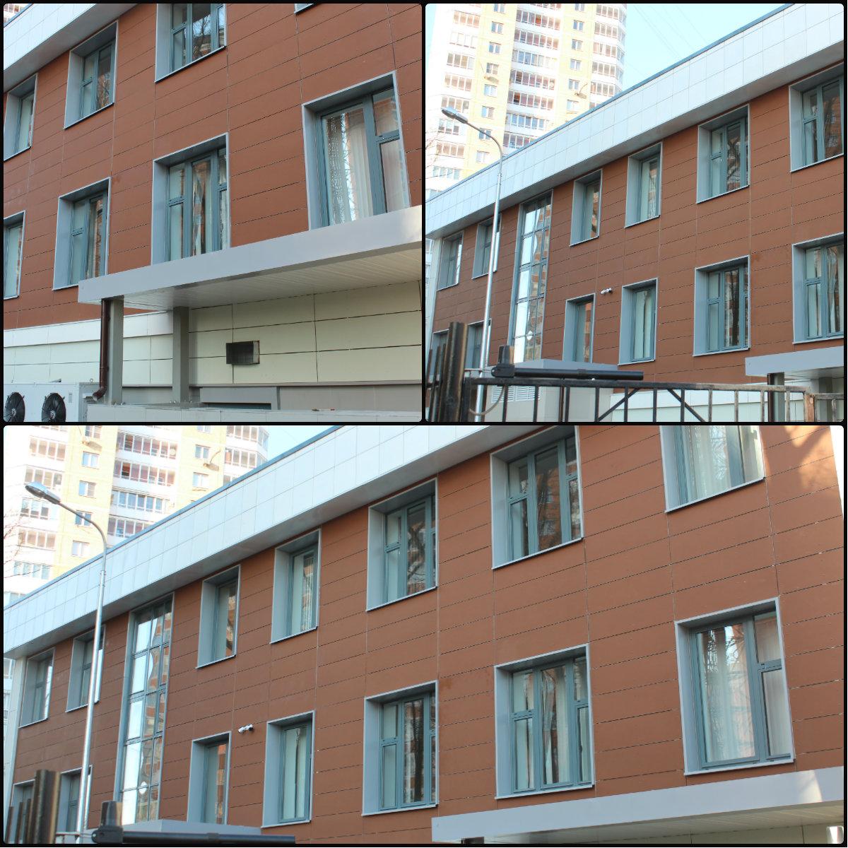 Облицовка фасада офисного здания фиброцементными плитами
