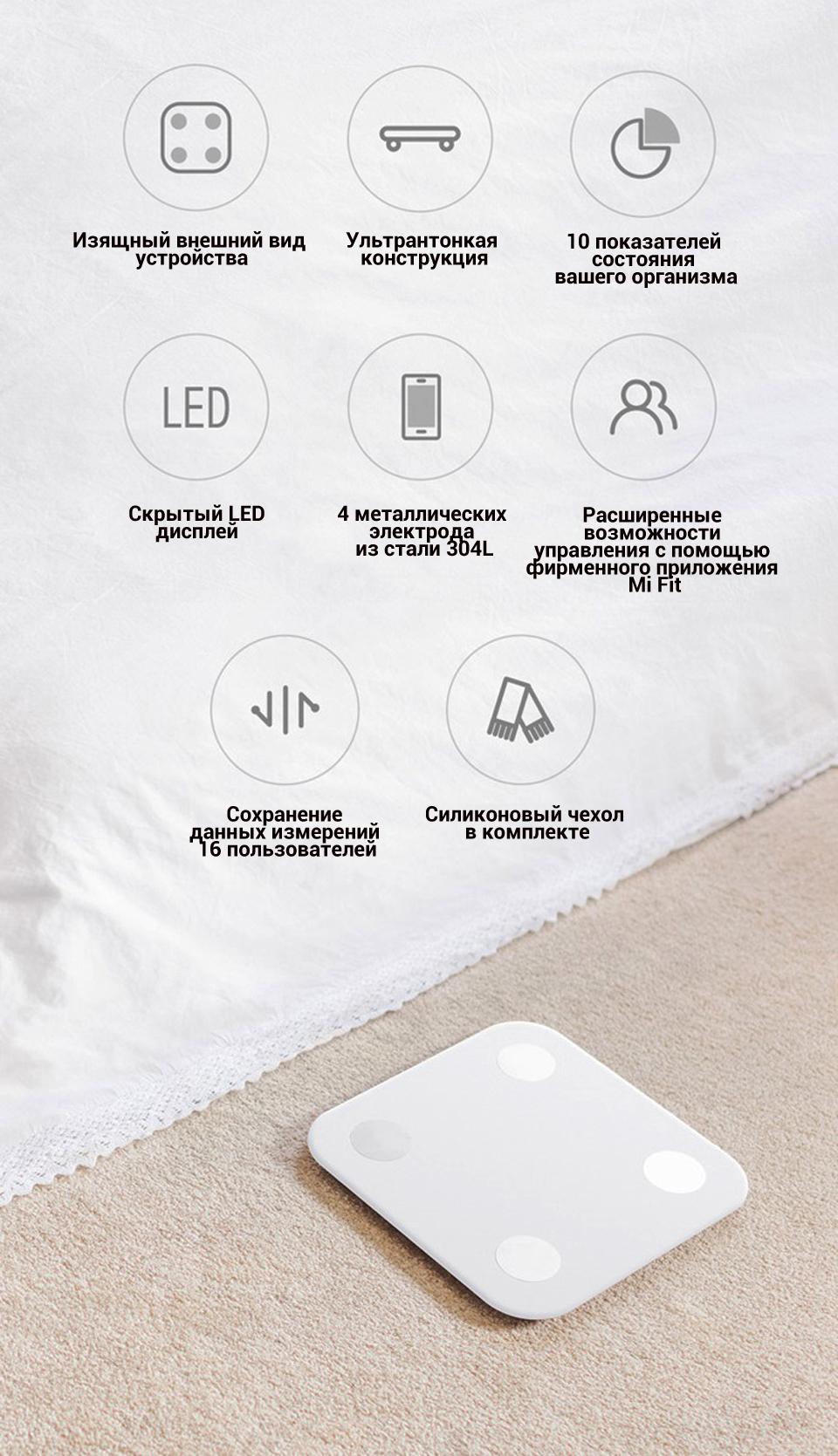 Весы Xiaomi Smart Scale 2 десять показателей физического состояния организма
