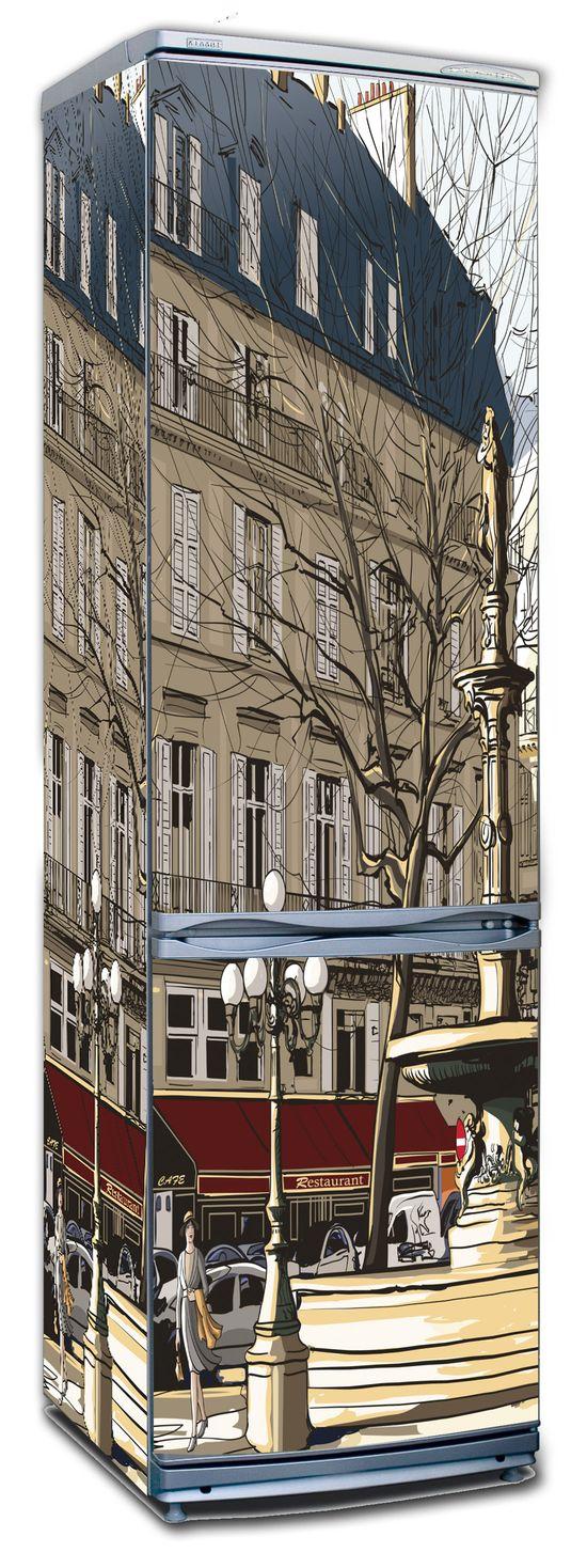 Виниловая наклейка на холодильник -  Улицы города 1