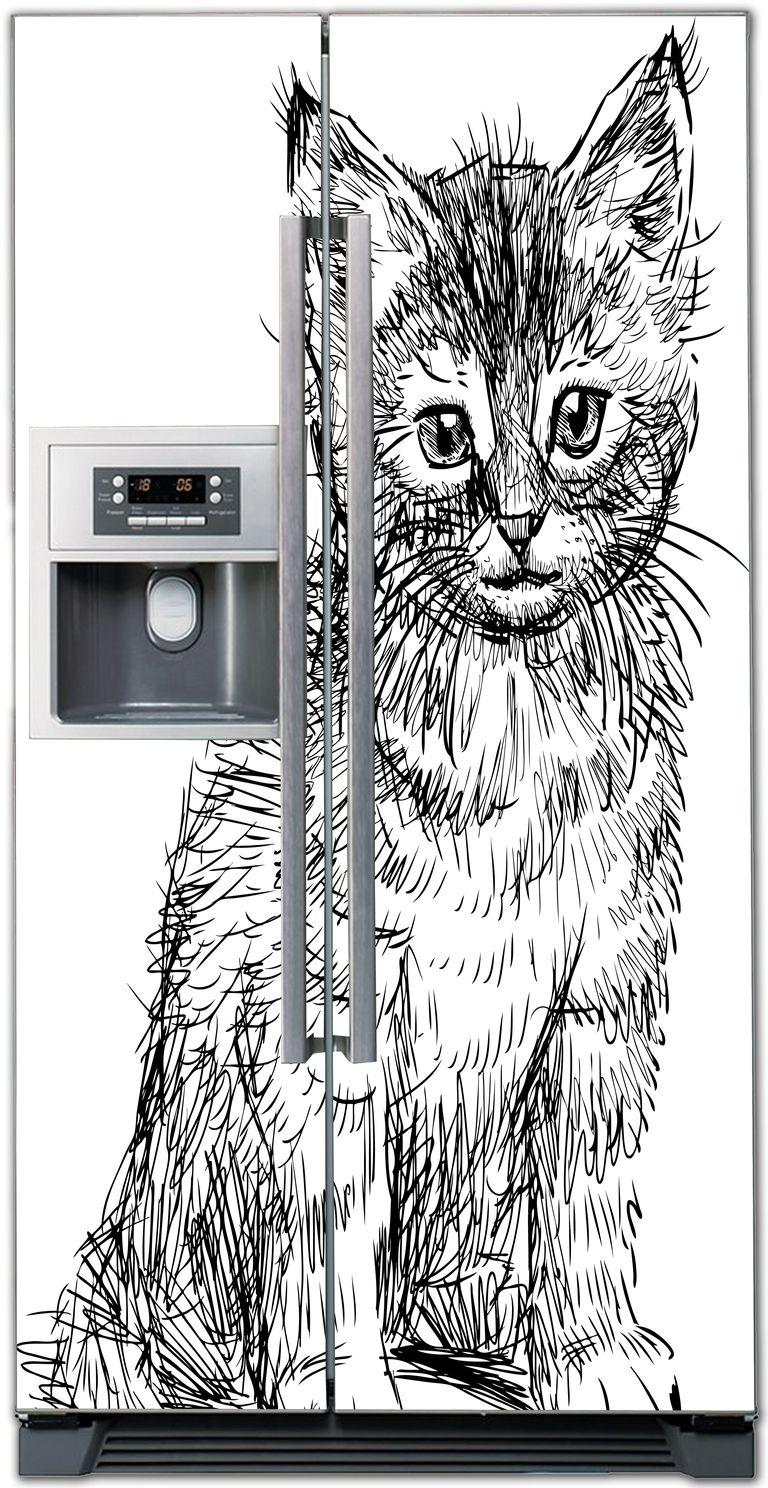Виниловая наклейка на холодильник - Кошка