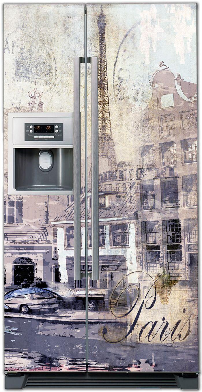 Виниловая наклейка на холодильник - Ретро открытка