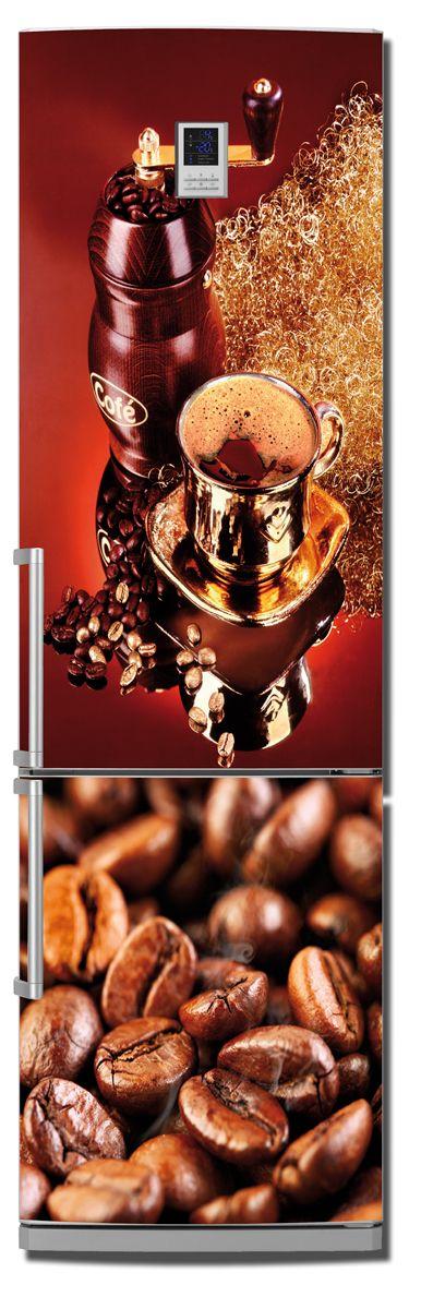 Наклейка на холодильник - Кофе 4. Красное дерево.