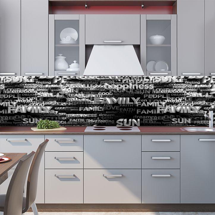 Наклейка на фартук кухни - 3Д Текст