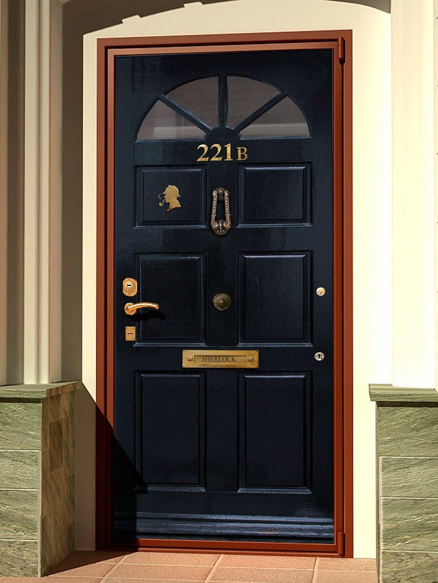 Наклейка на дверь - Шерлок 221b, купить | Интерьерные наклейки