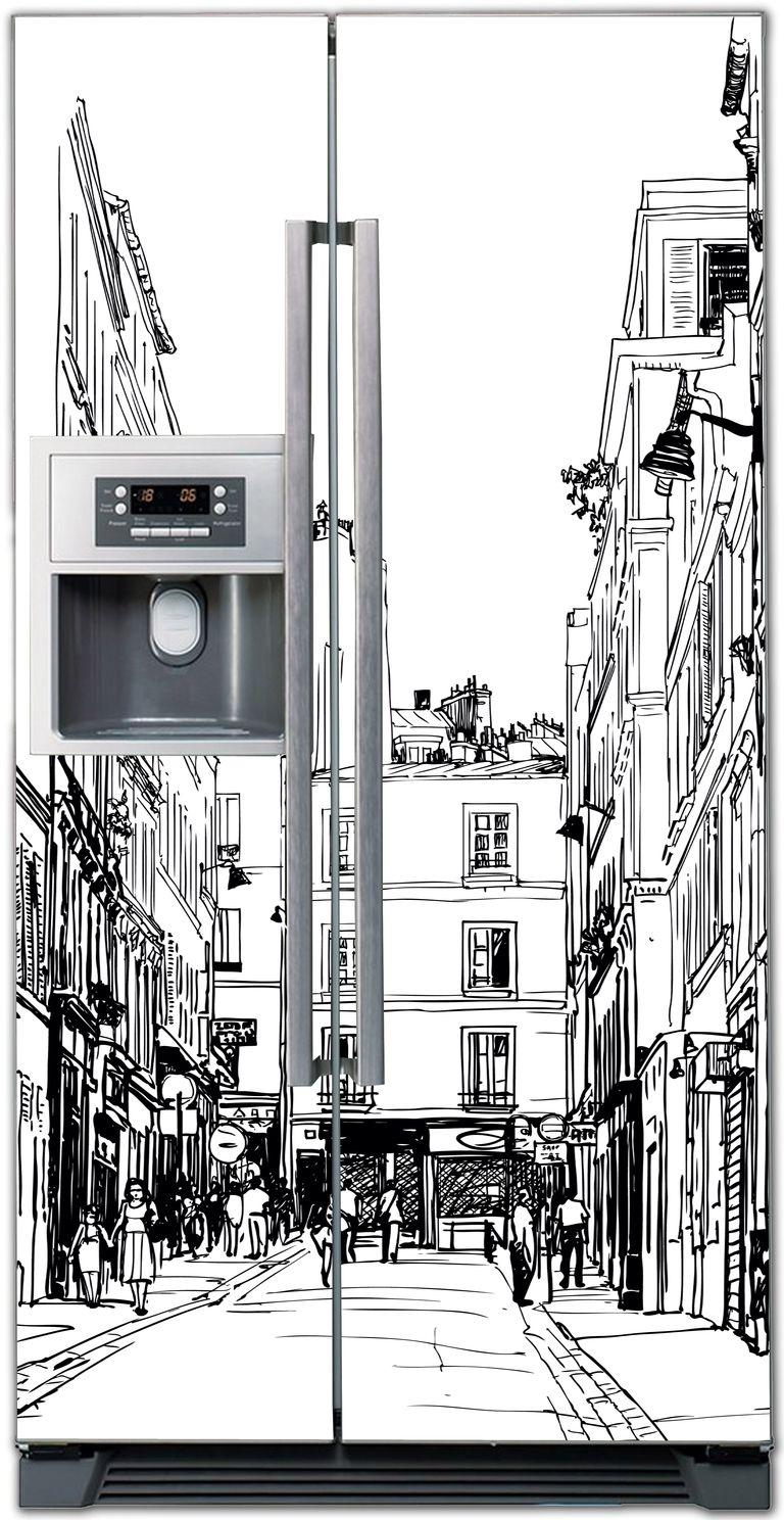 Виниловая наклейка на холодильник -  Улицы города 3