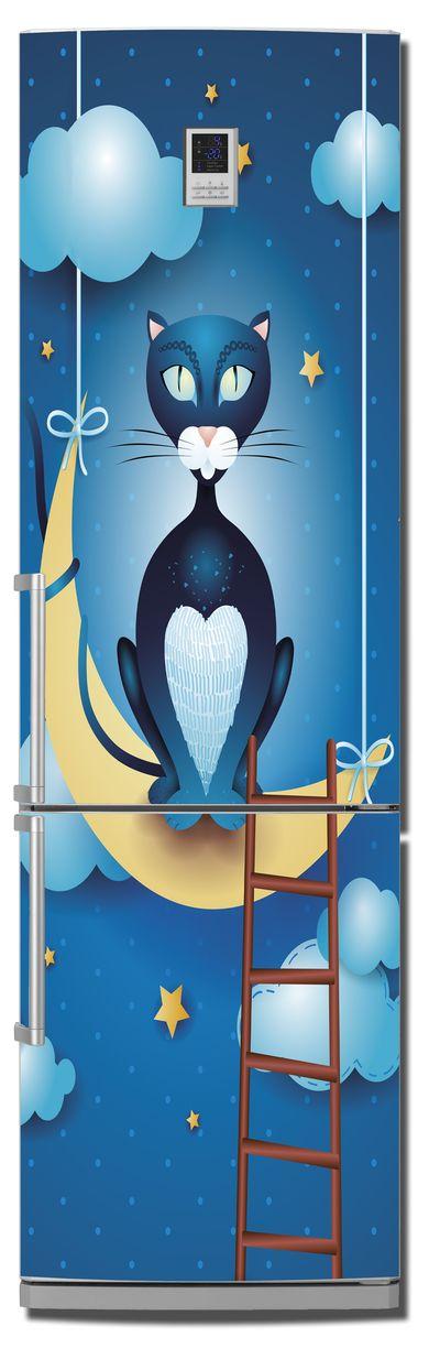 Виниловая наклейка на холодильник -  Кот