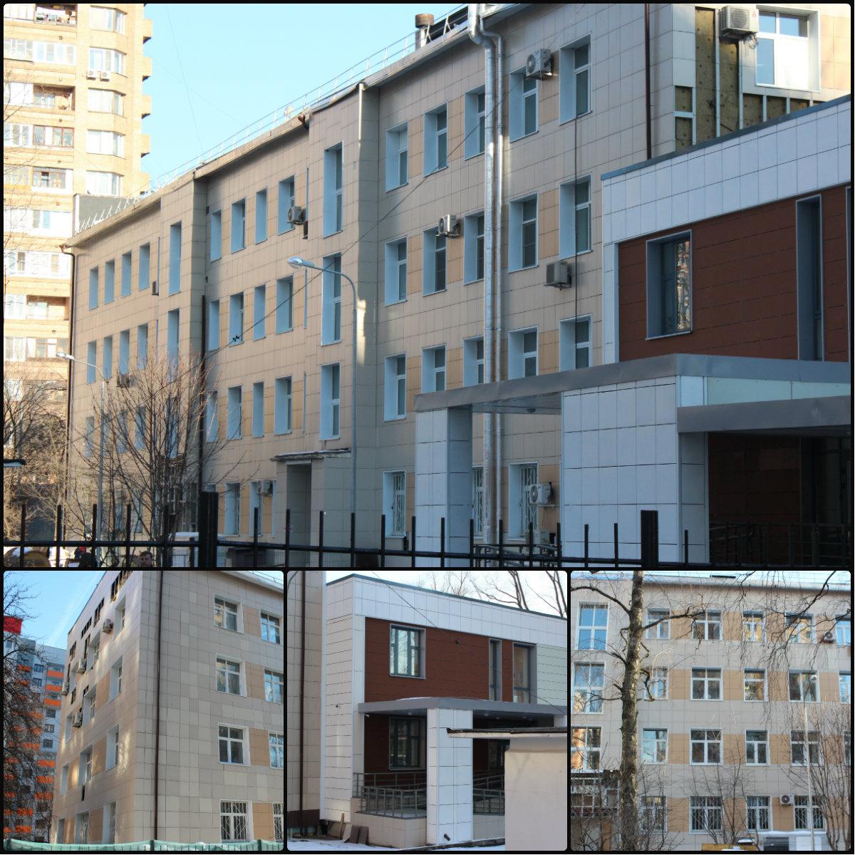 Облицовка фасада школы керамогранитом г. Москва