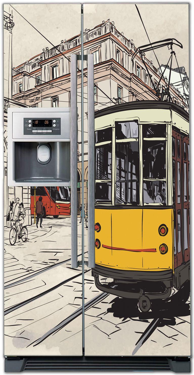 Виниловая наклейка на холодильник -  Улицы города 2