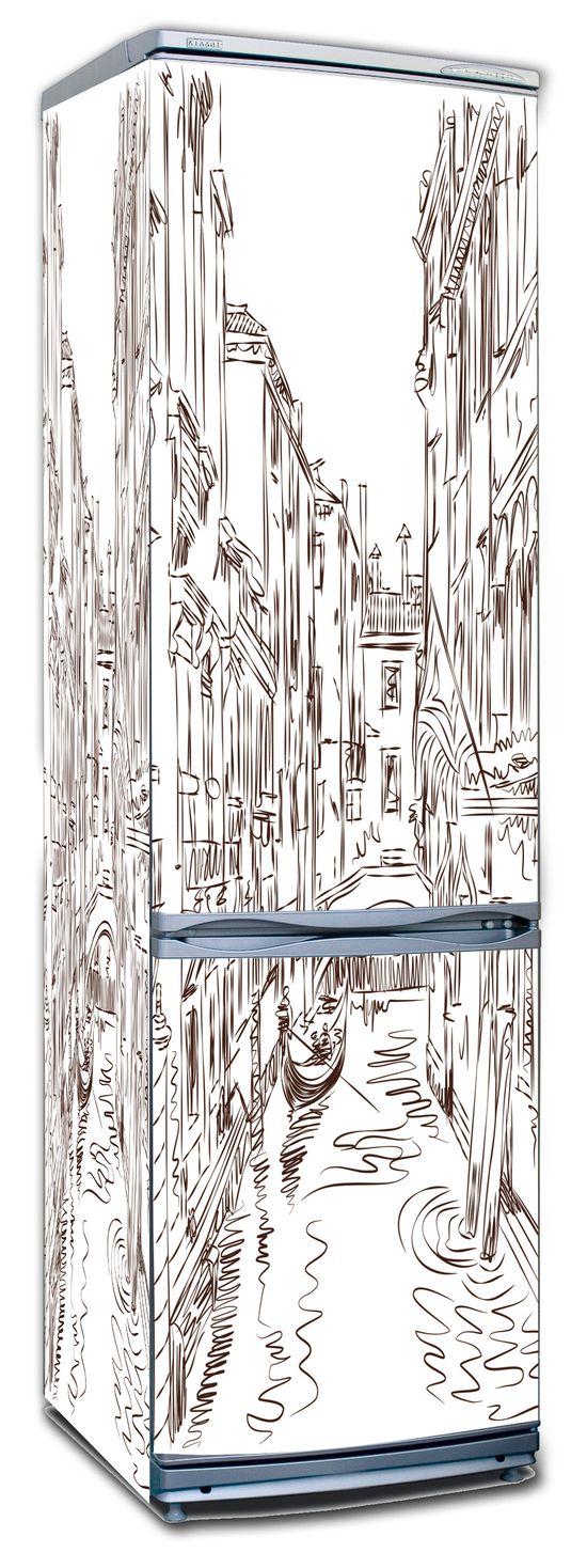 Виниловая наклейка на холодильник -  Улицы города 4