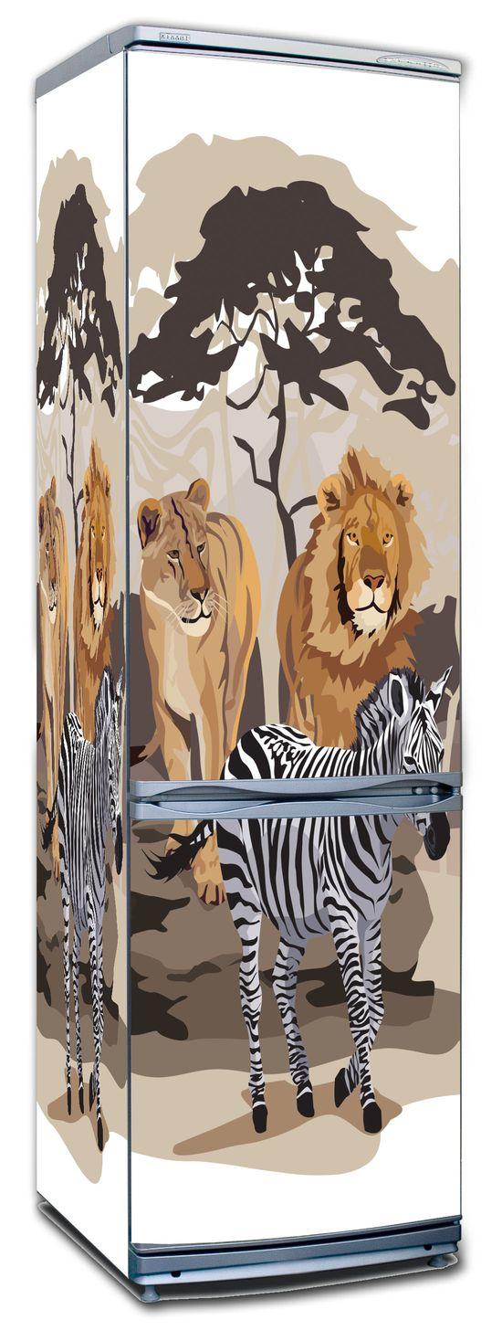 Виниловая наклейка на холодильник -  Африка