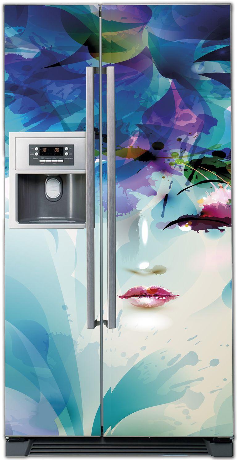 Виниловая наклейка на холодильник - Лицо
