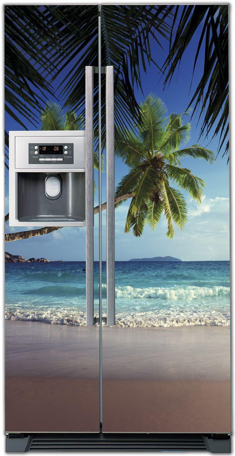 Виниловая наклейка на холодильник - Пляж 1