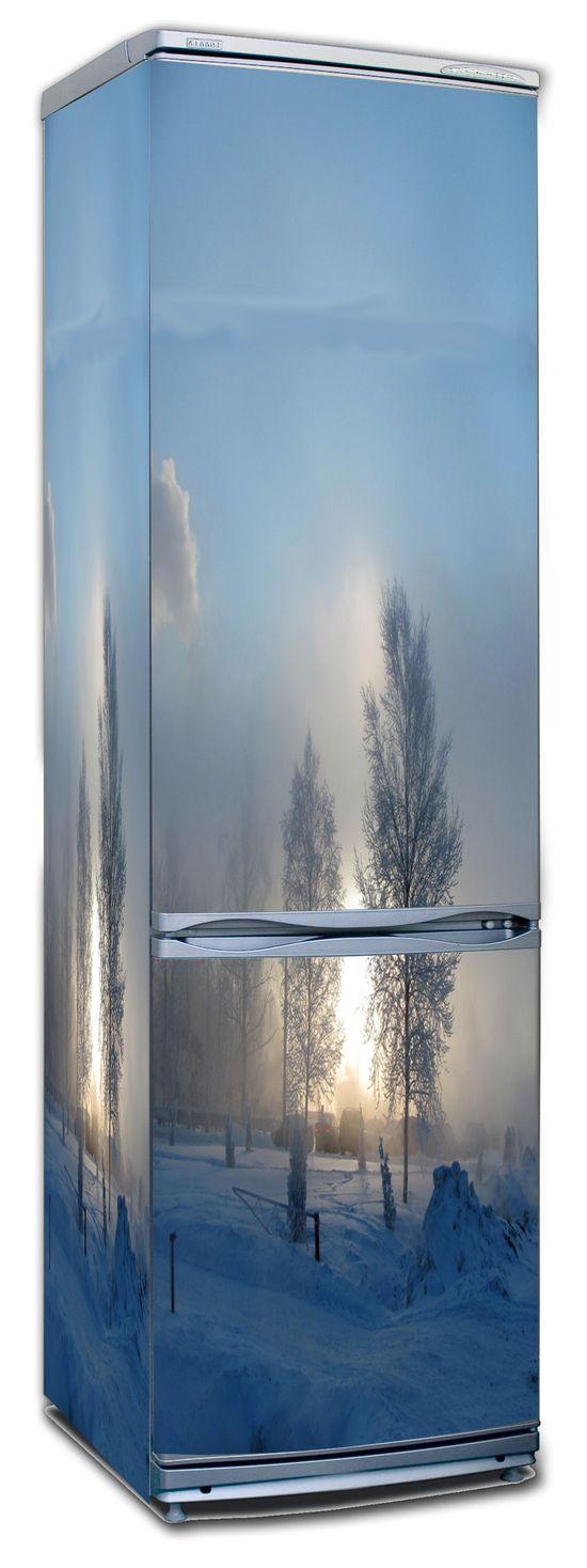 виниловая наклейка на холодильник: Зимнее утро