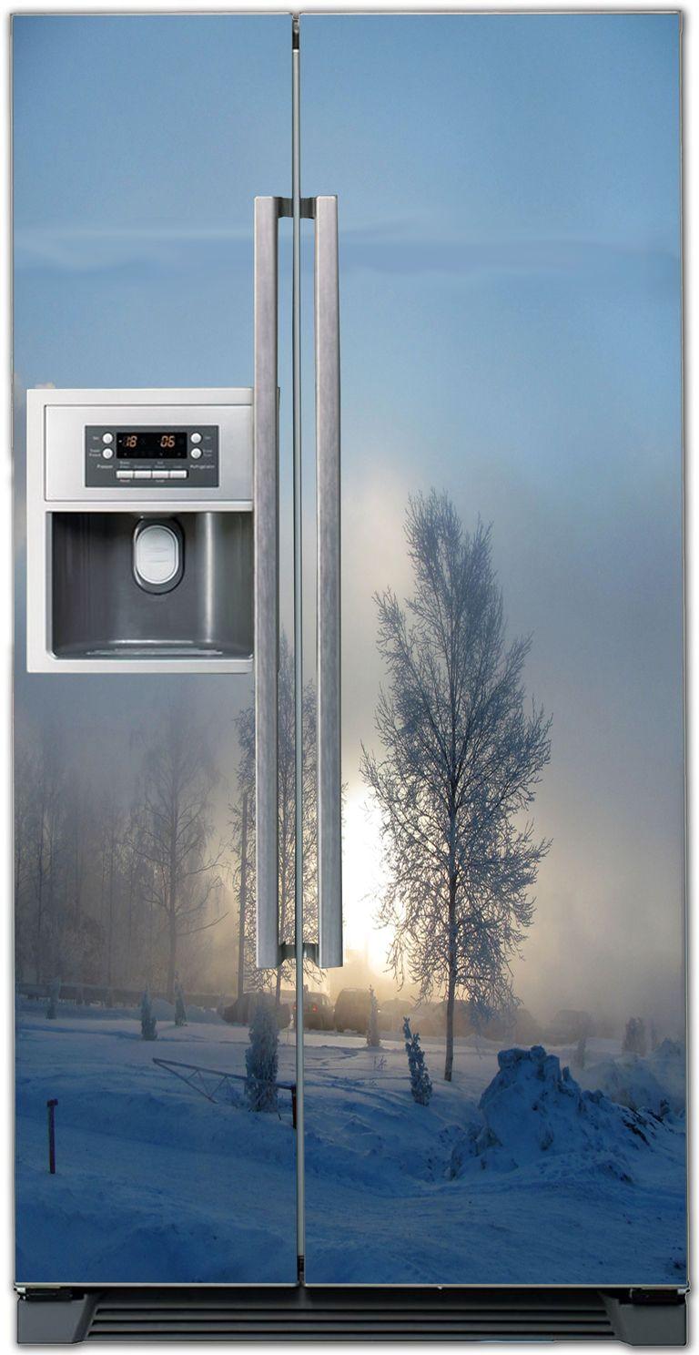 Наклейка на холодильник - зимнее утро