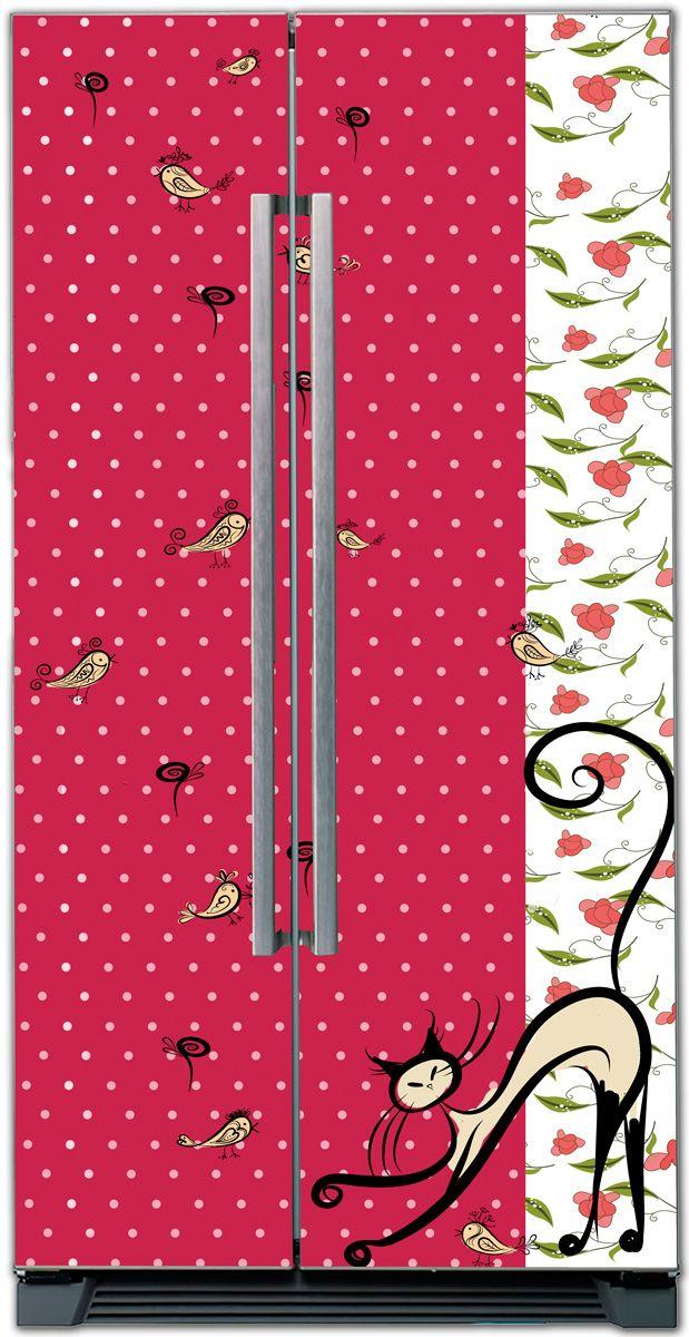 Виниловая наклейка на холодильник - Птичник