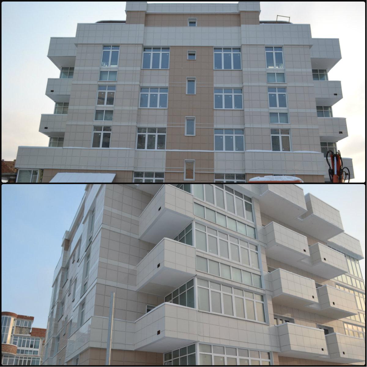 Отделка фасада керамогранитом на фасадную систему