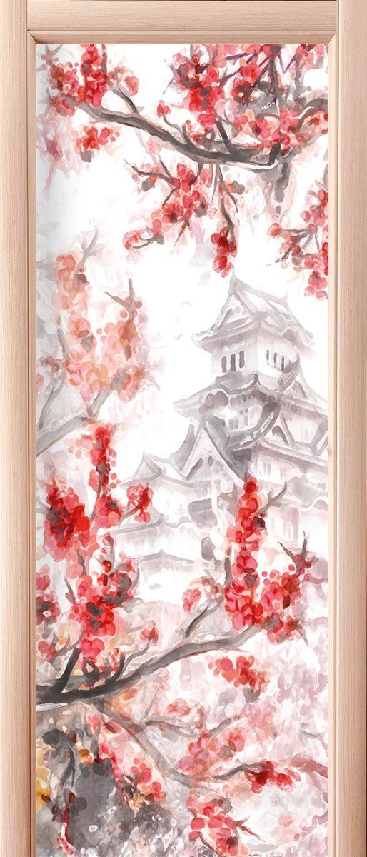 Наклейка на дверь - Сакура купить в магазине Интерьерные наклейки