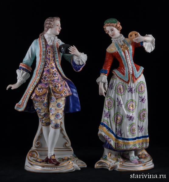 Парная фарфоровая статуэтка Карнавал, романтическая пара с масками, Samson, Франция, кон. 19 в.