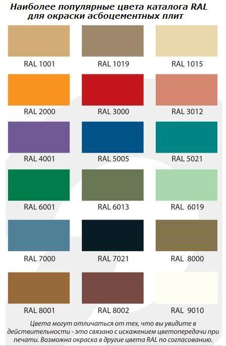 Каталог основных цветов окраски асбестоцементного листа, хризотилцементного