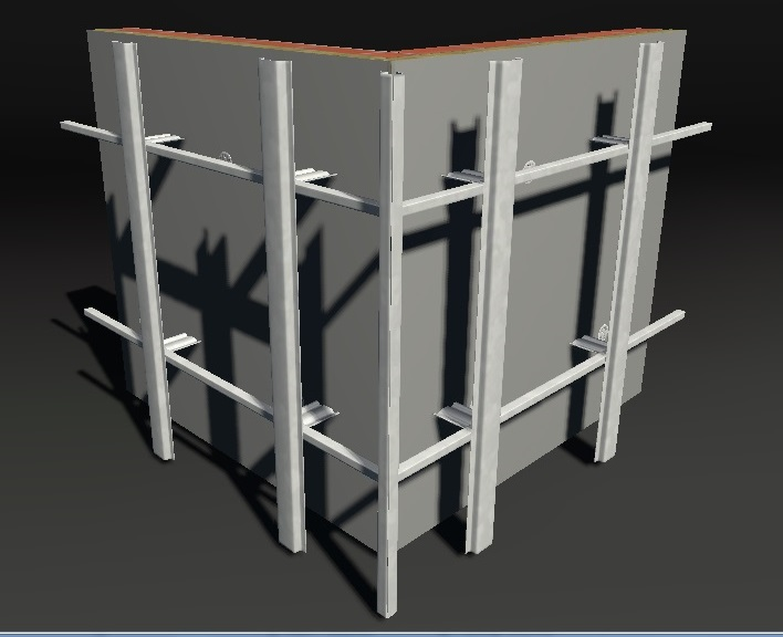 Монтаж вертикального углового или промежуточного профиля