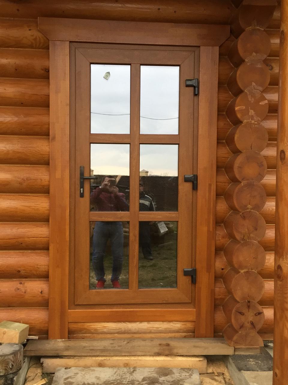 Дверь входная ПВХ золотой дуб
