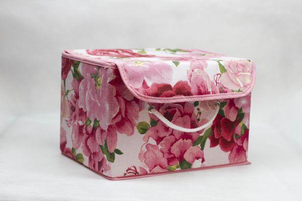 коробка для хранения с крышкой из текстиля