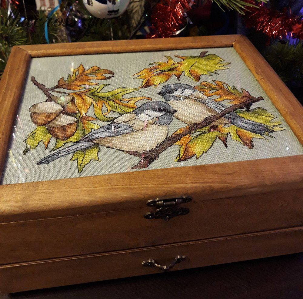 Схема для вышивки крестом Трудолюбивые птички. Отшив.
