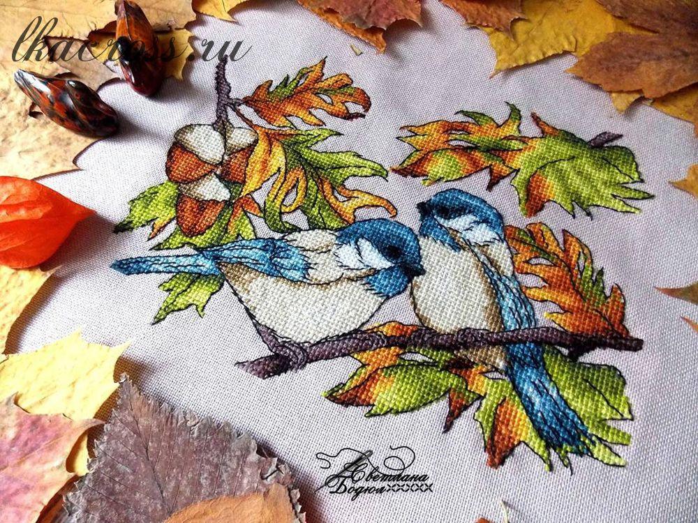 Схема для вышивания крестиком Трудолюбивые птички. Отшив.