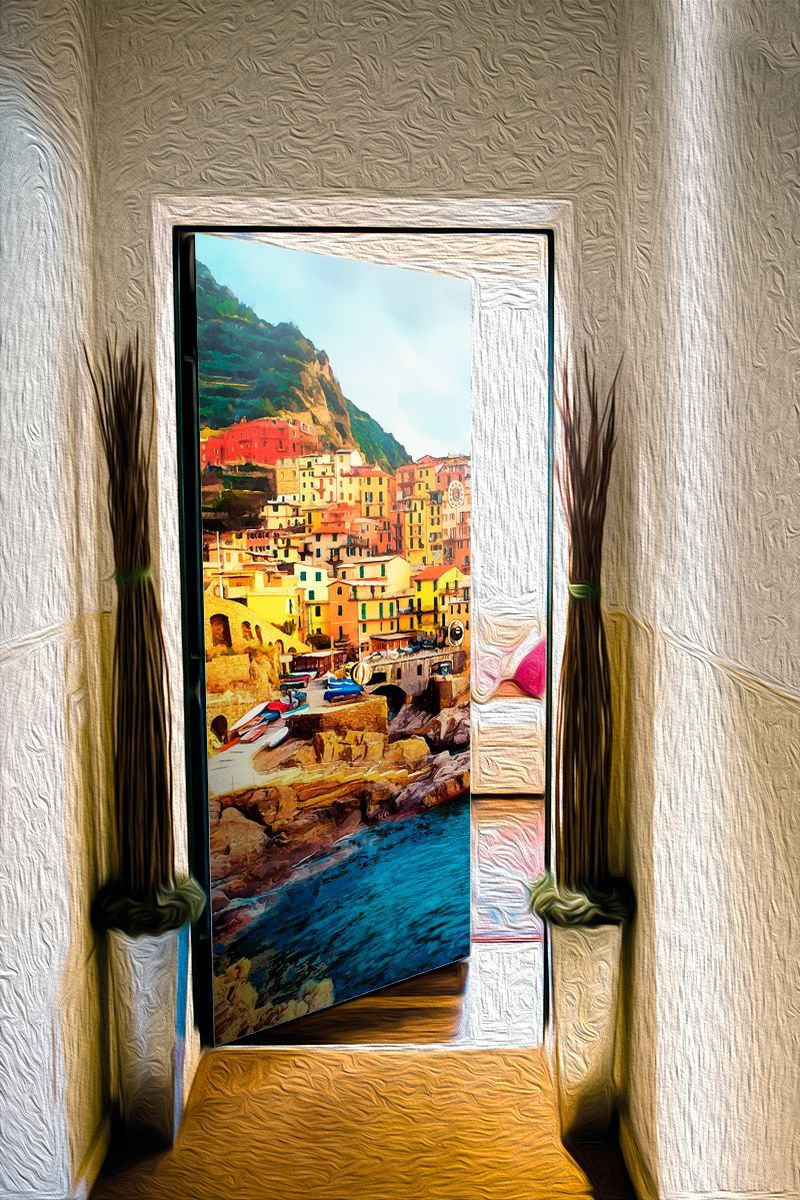 Наклейка на дверь - На берегу неба | магазин Интерьерные наклейки