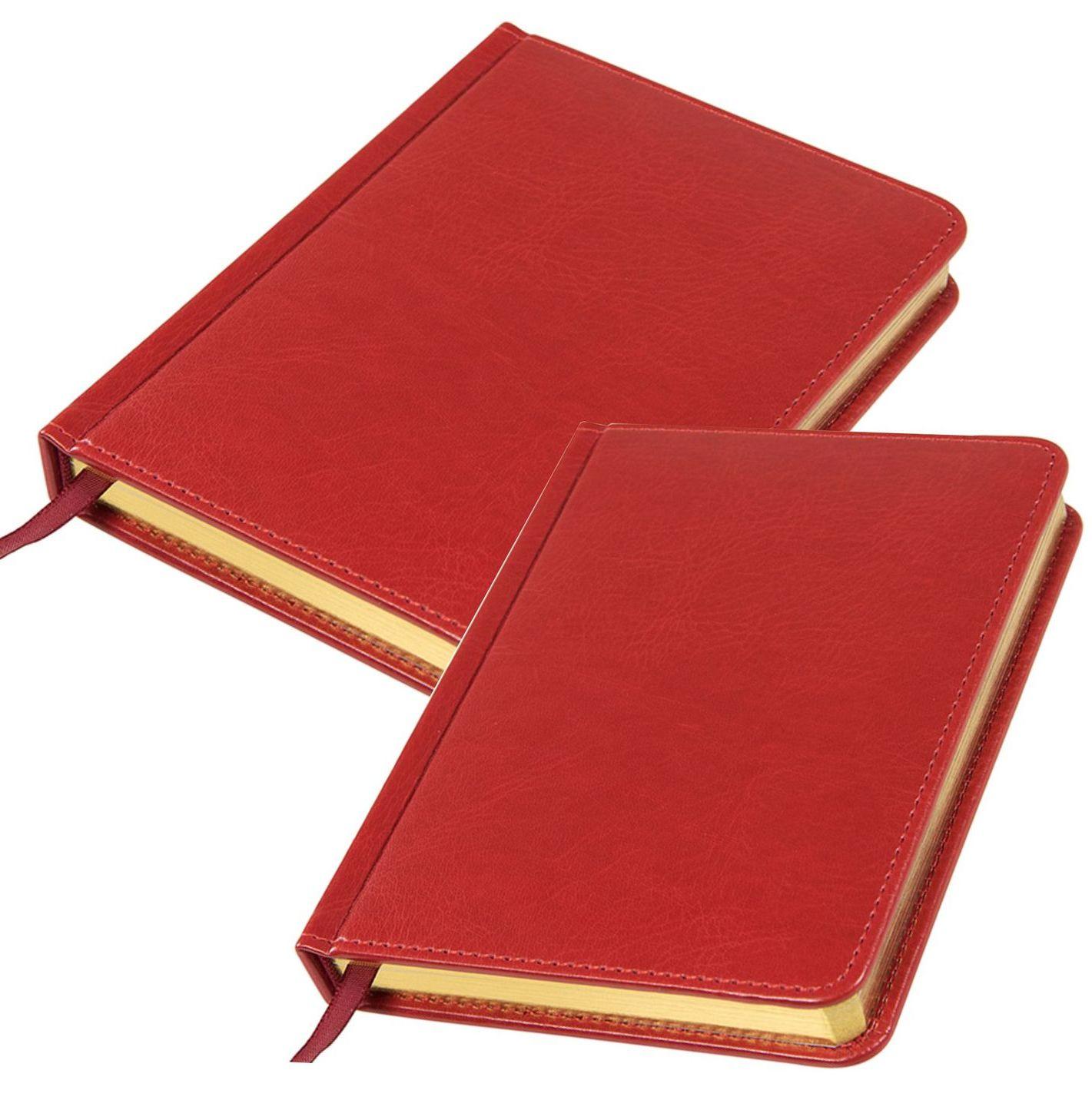 красные ежедневники с золотистым срезом
