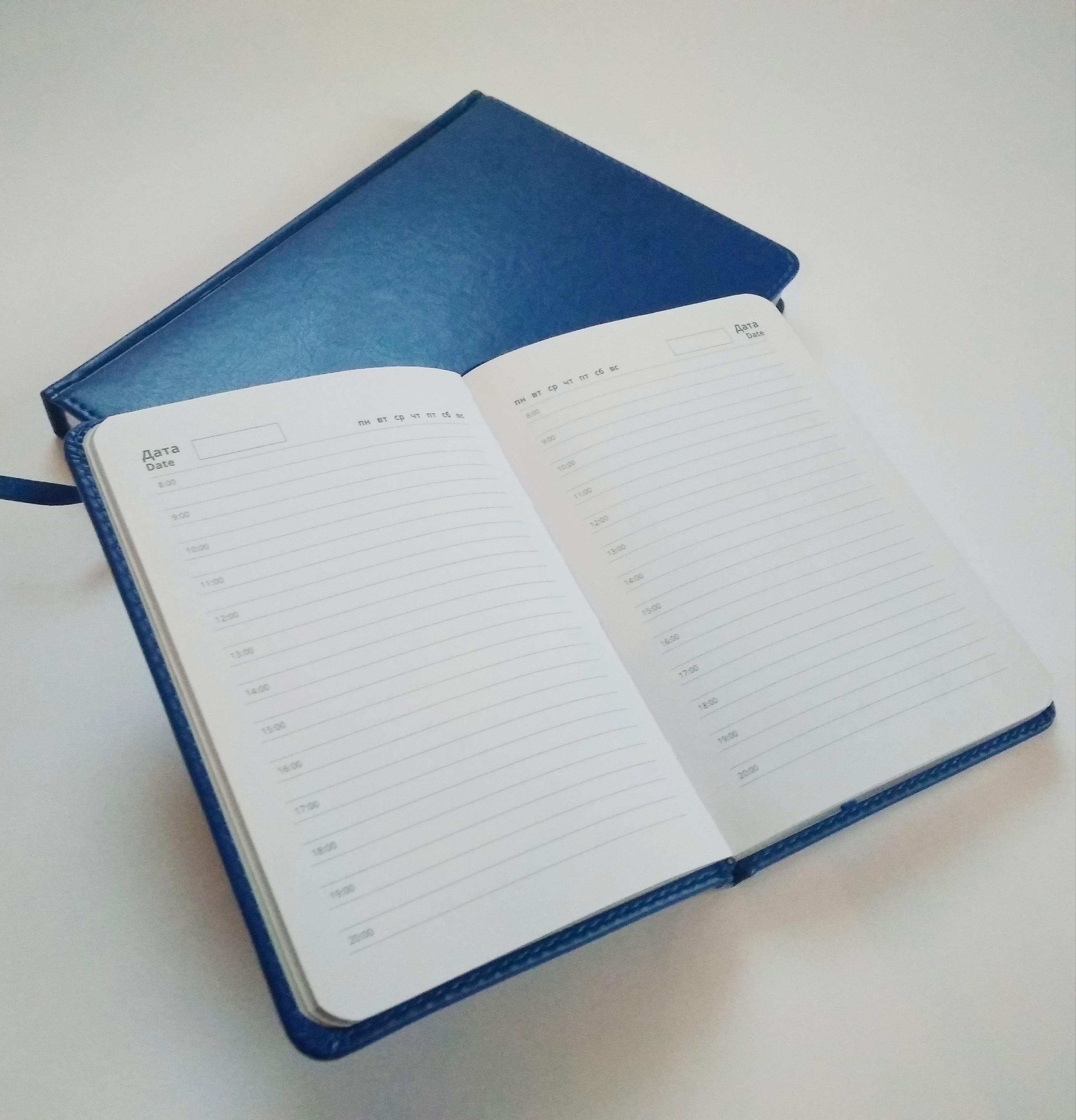 синие ежедневники с серебристым срезом