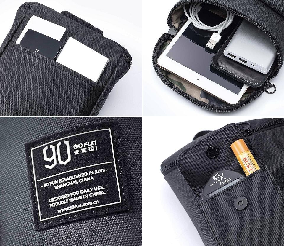 Сумка RunMi 90 Chic Casual Chest Bag отделения и карманы