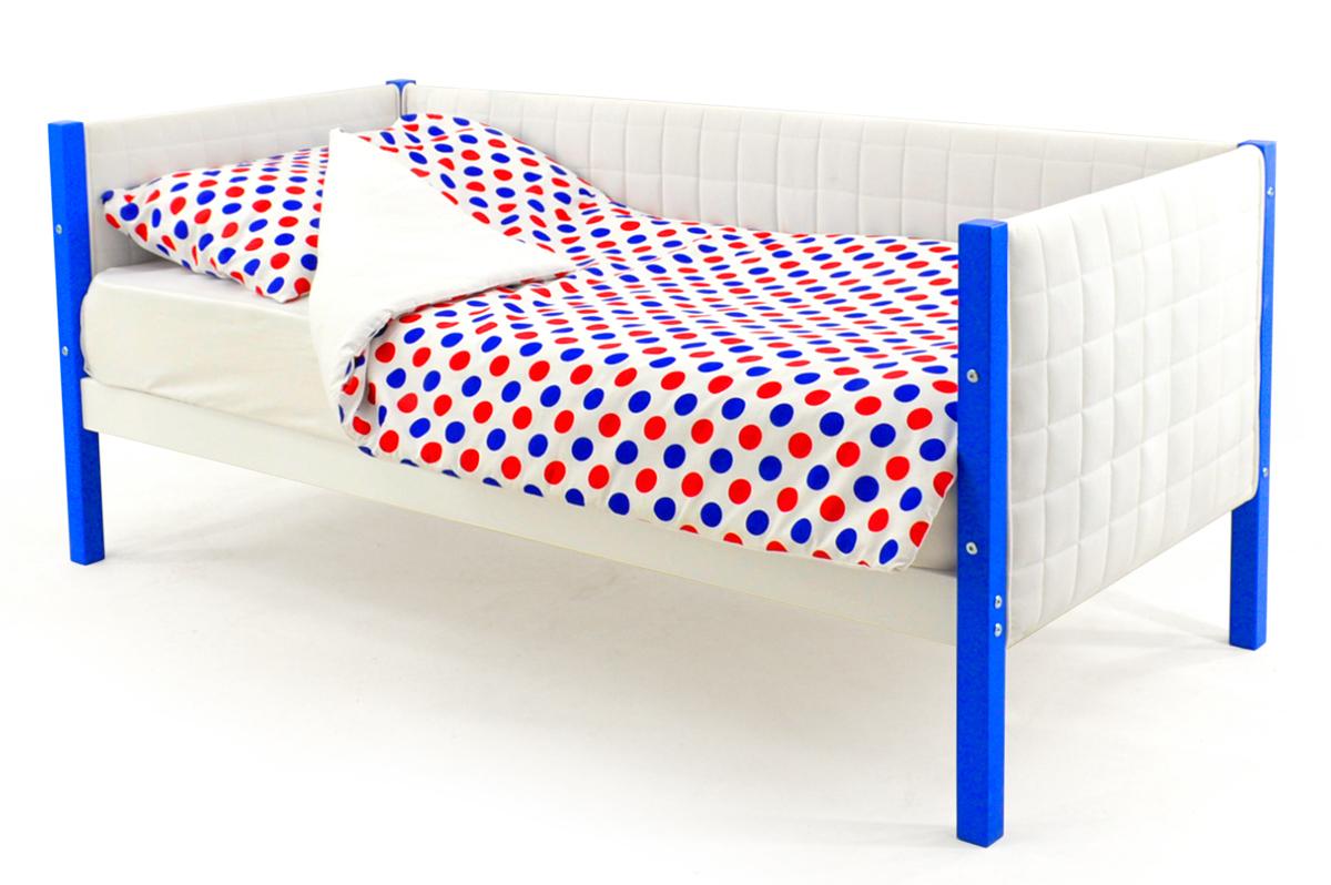Кровать-тахта мягкая синий-белый