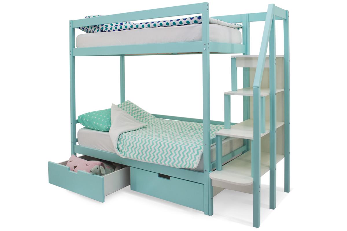 двухъярусная кровать детская мятный