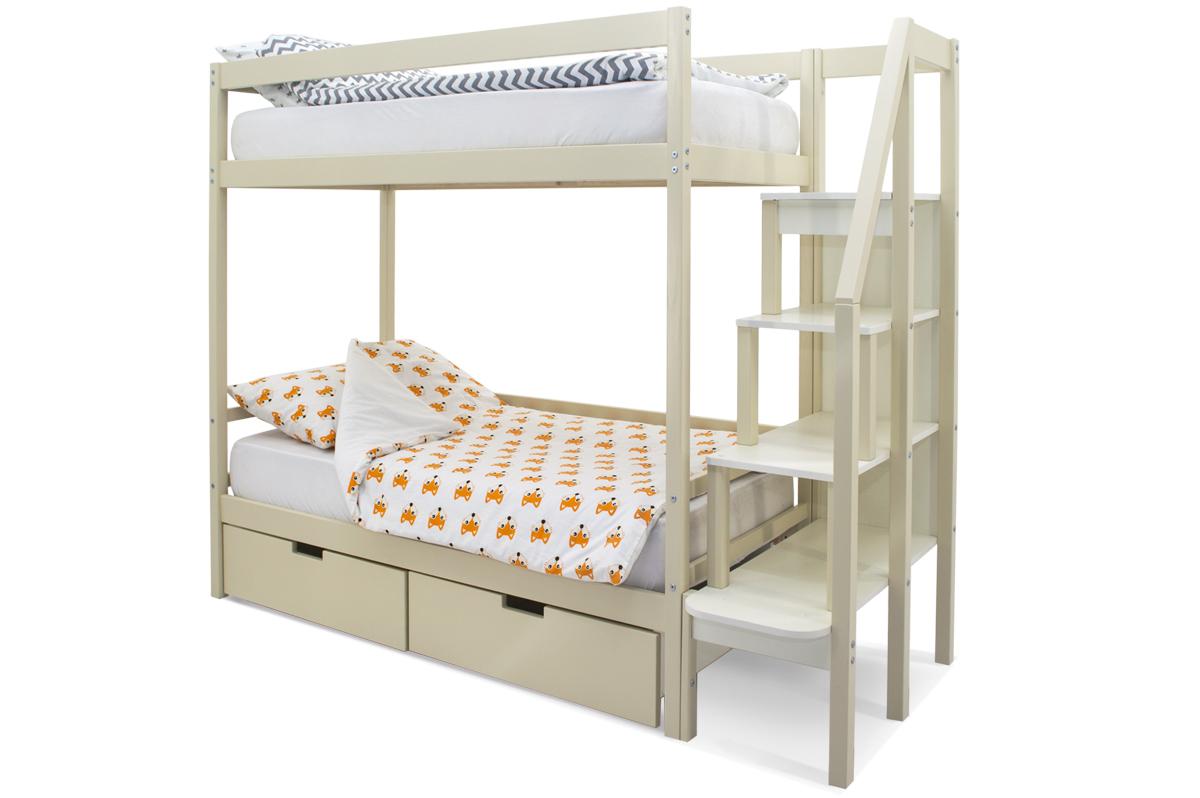 двухъярусная кровать детская бежевый