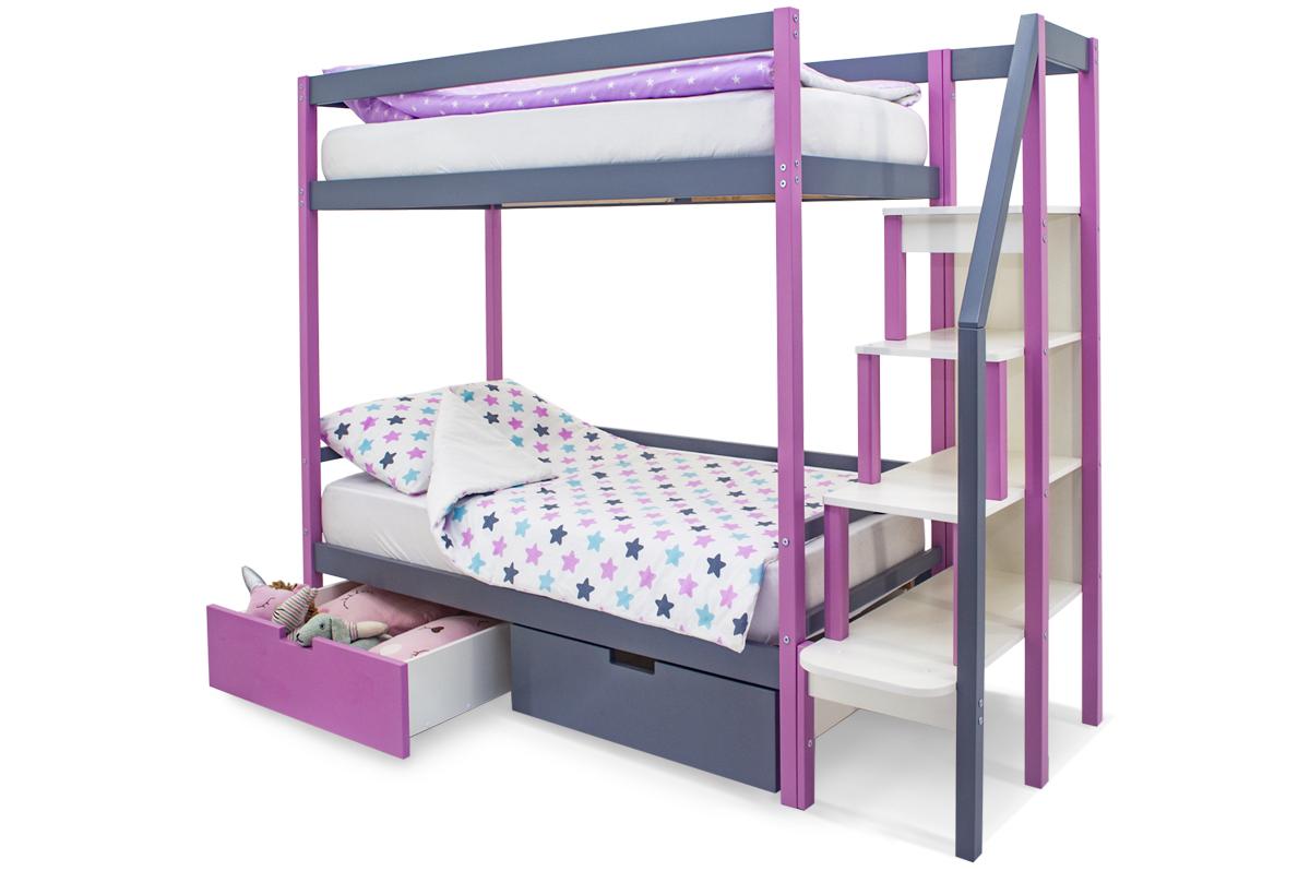 двухъярусная кровать детская лаванда-графит