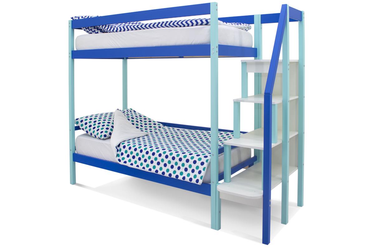 двухъярусная кровать детская мятно-синий