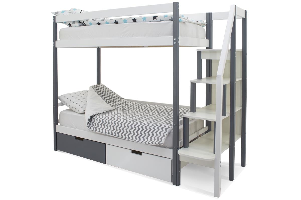 двухъярусная кровать детская графит-белый