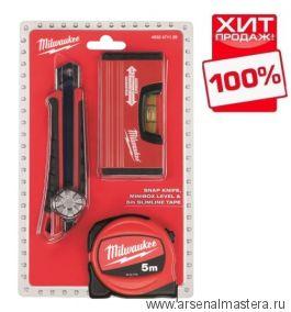 Промонабор уровень 10 см рулетка 5 м нож выдвижной 18 мм MILWAUKEE 4932471129 ХИТ!