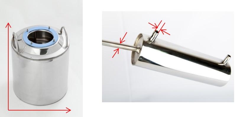 технические характеристики аппарата Алковар Эконом,  диаметры перегонного куба,  подводящих/отводящих трубок