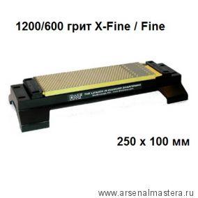 Брусок абразивный алмазный двусторонний DMT DuoSharp 250 х 100 мм 1200 / 600 грит X-Fine / Fine на подставке W250EFWB М00008883