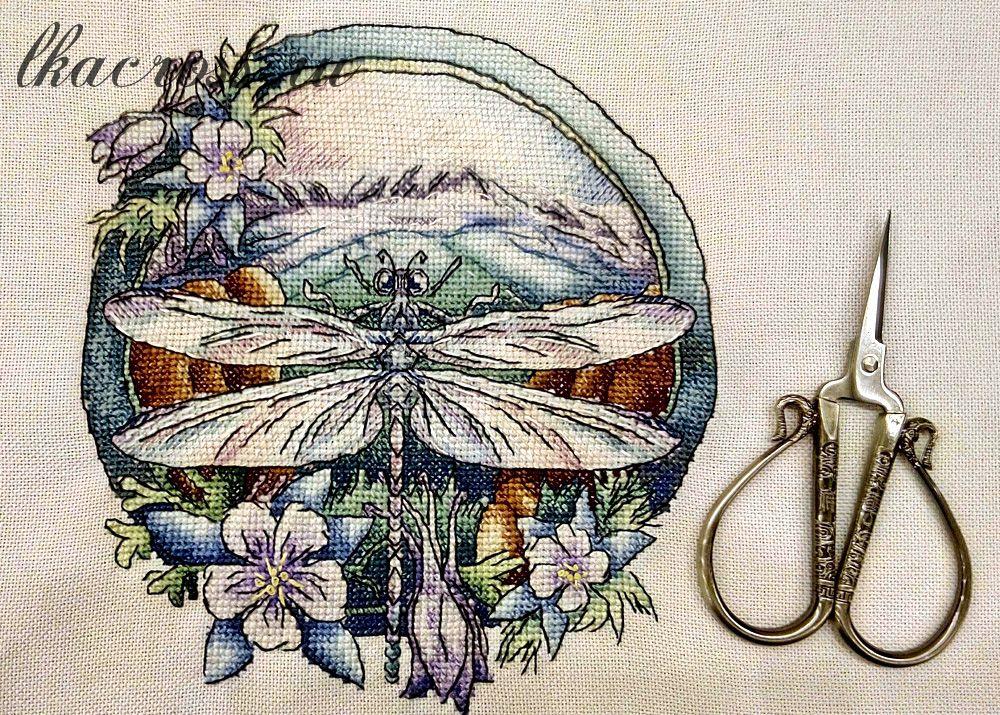 Схема для вышивки крестом Стрекоза. Отшив.