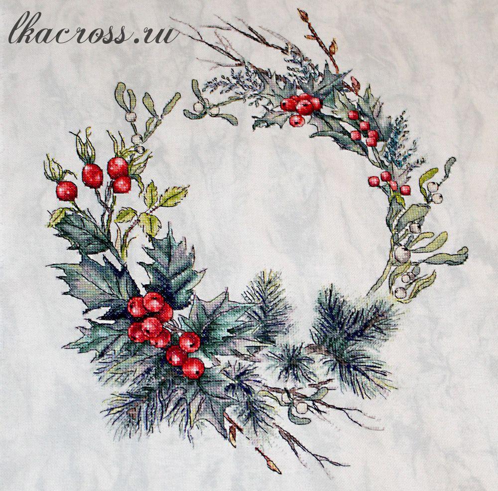 Схема для вышивки крестом Рождественский венок. Отшив.