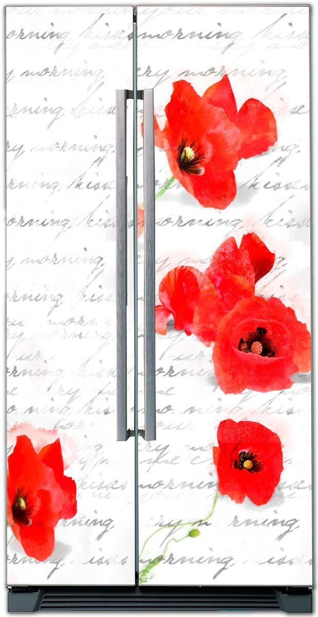 Fridge Skin - Sketch with poppies by X-Decor